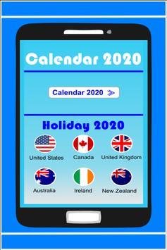 Calendar in English 2020 Free