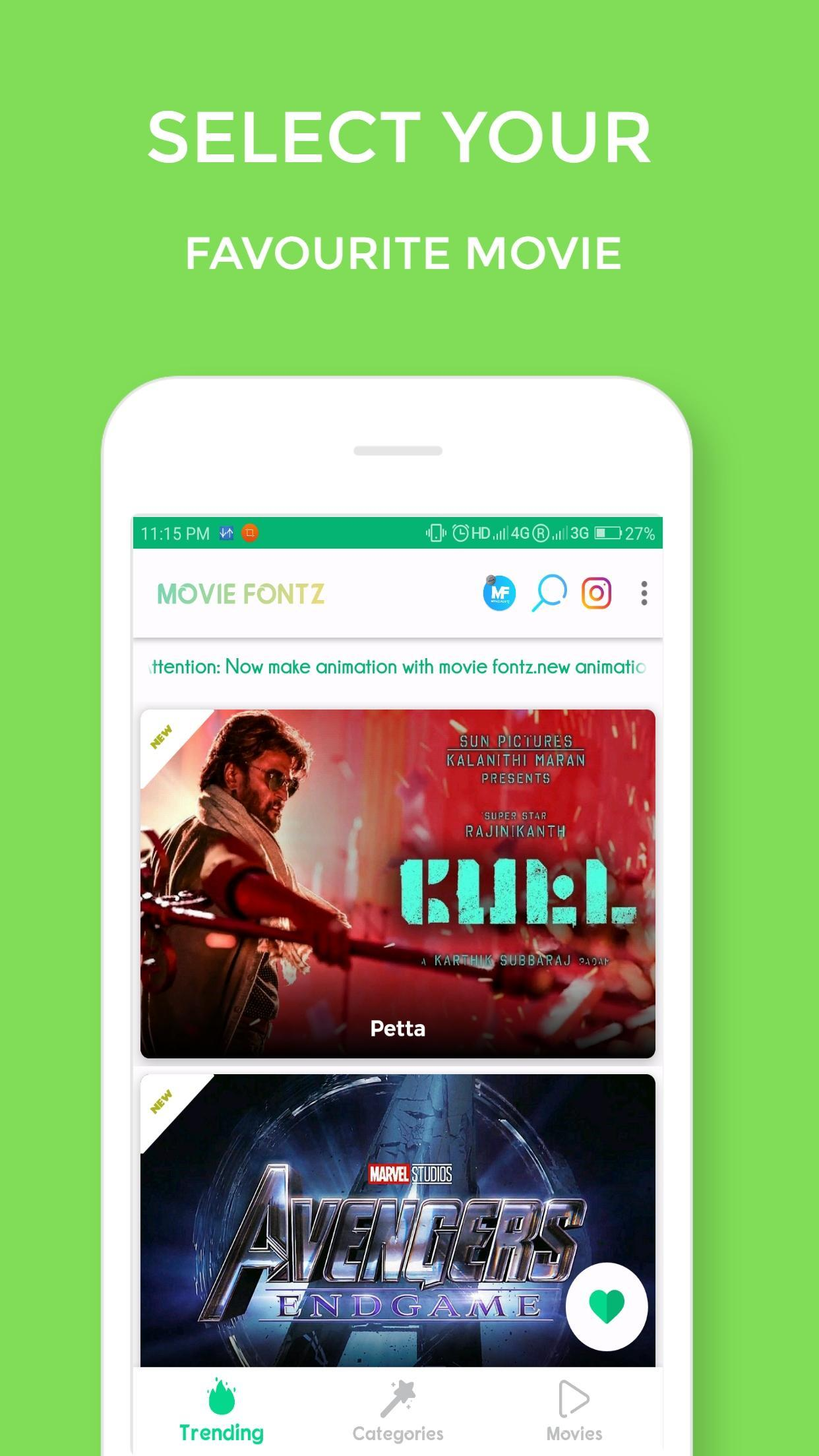 Movie Fonts(Movie Fontz) -Get all movie fonts for Android