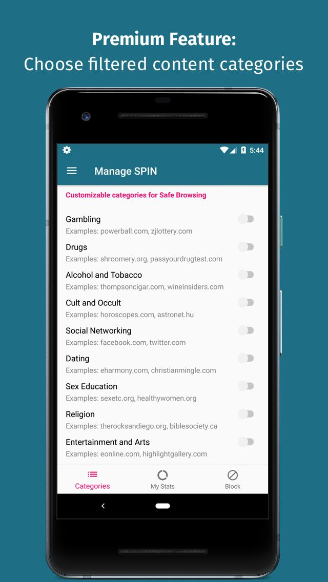 Filter Chrome Browser by Manage SPIN safe browsing for