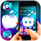 Neon purple and blue apple theme icon