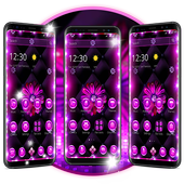 Neon Violet Black Flower Theme icon
