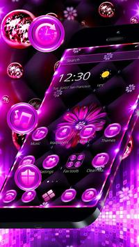 Neon Violet Black Flower Theme screenshot 2