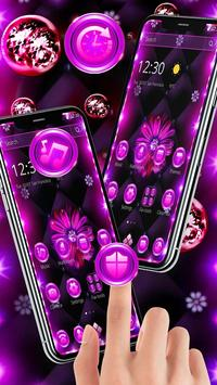 Neon Violet Black Flower Theme screenshot 4