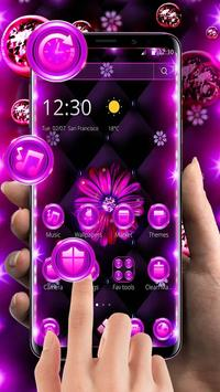 Neon Violet Black Flower Theme screenshot 8