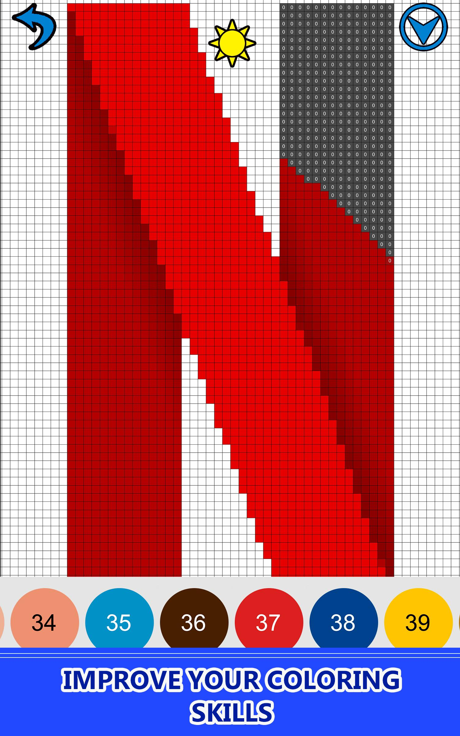American Logo Color by Number Pixel Art Coloring for