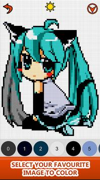 Anime Manga Color by Number - Pixel Art Coloring स्क्रीनशॉट 2