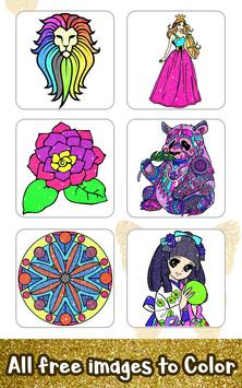 8 Schermata Glitter Color: Adult Coloring Book By Number Pages