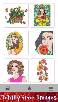 Beauty Glitter Color by Number-Girls Coloring Book screenshot 4