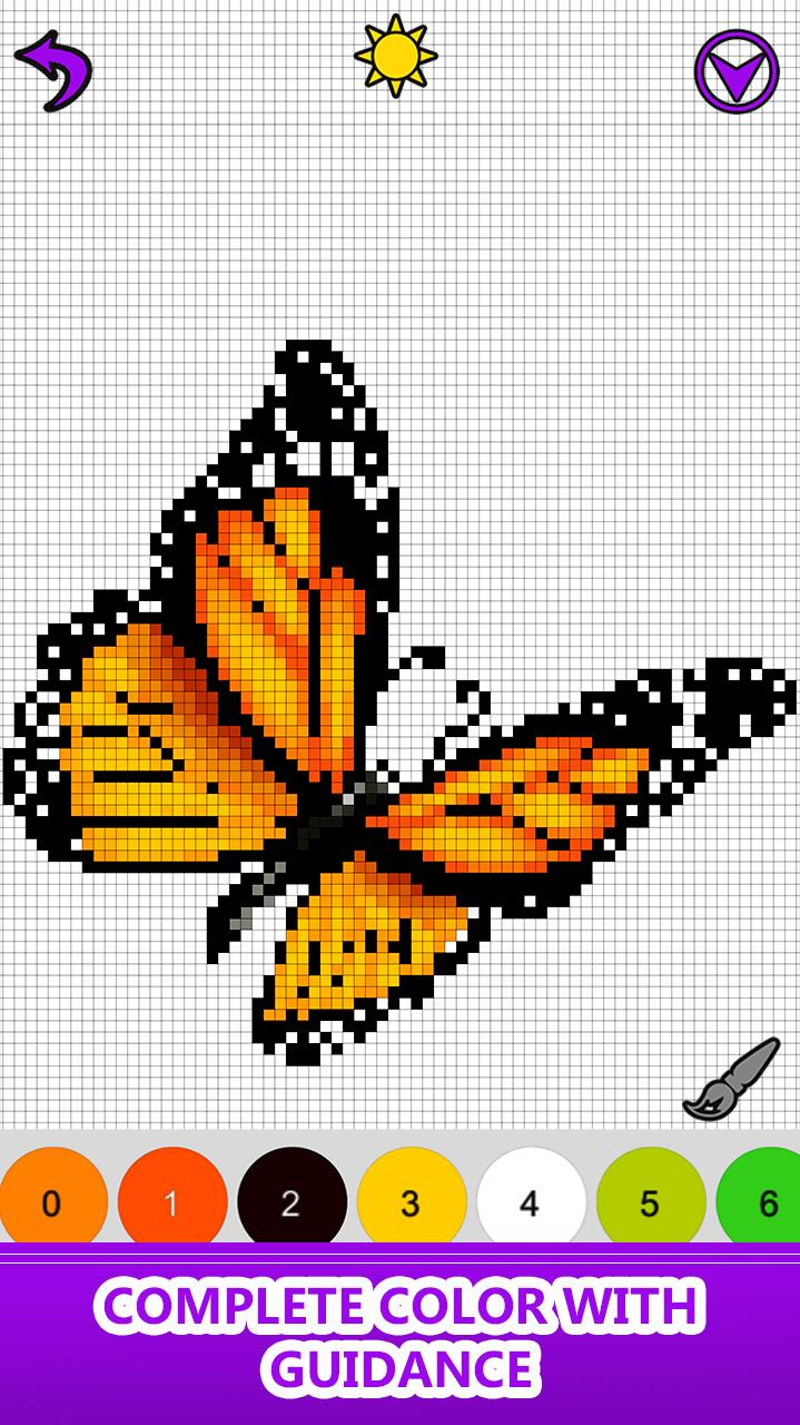Butterfly Color By Number Pixel Art Sandbox Draw для