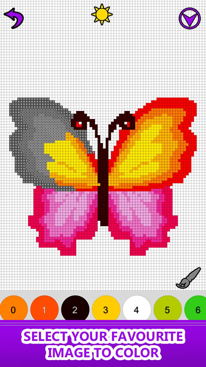 Butterfly Color by Number - Pixel Art Sandbox Draw for