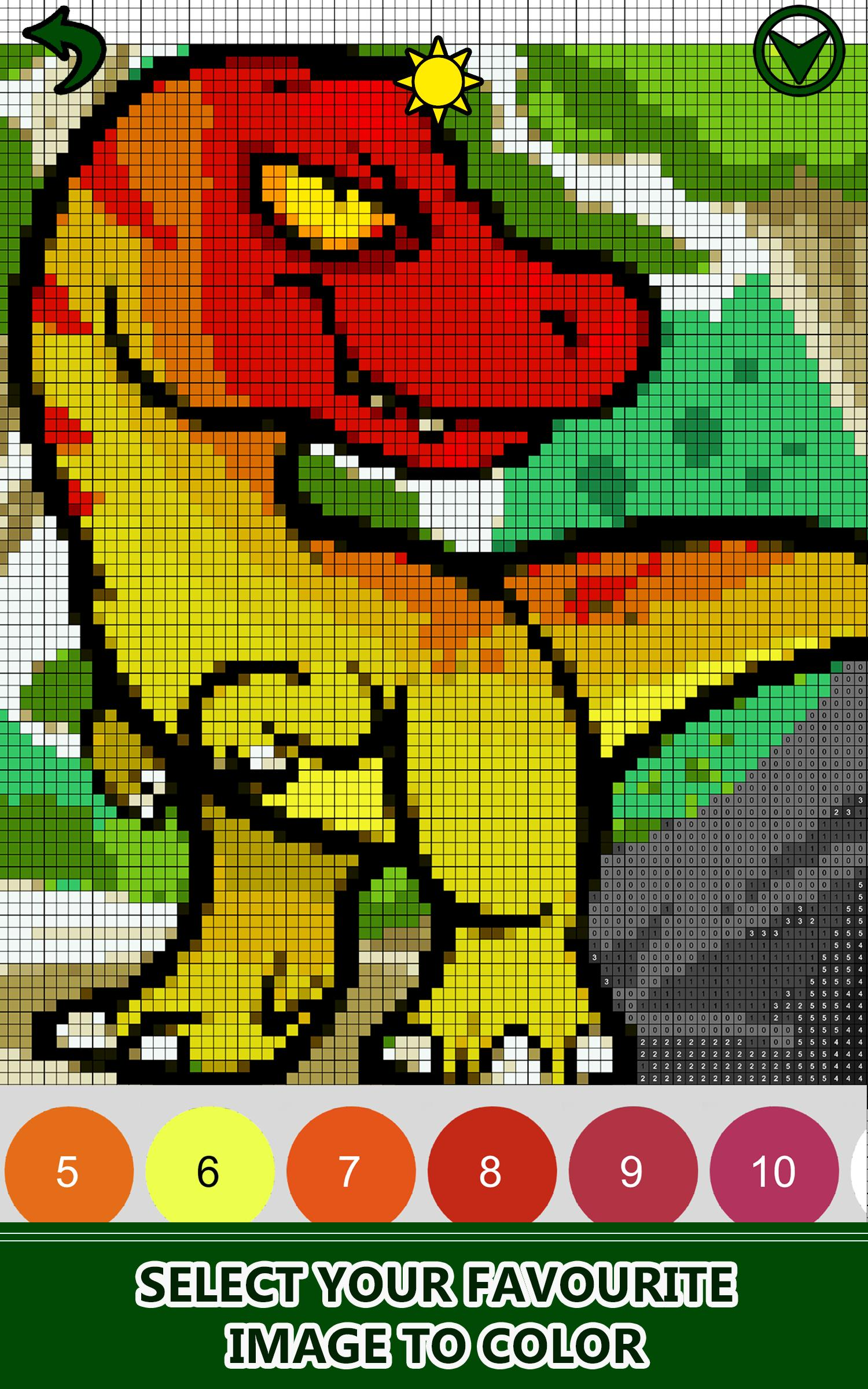 Dinosaurs Color By Number Pixel Art Draw Coloring For