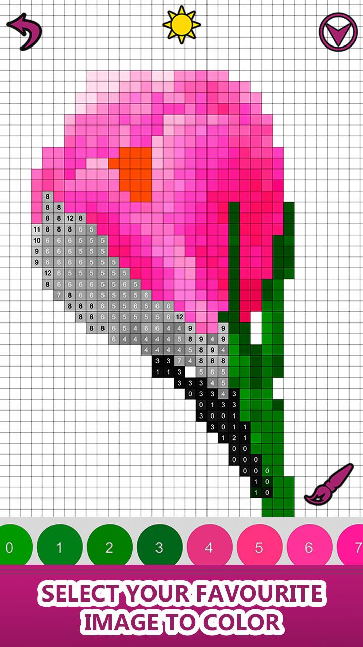 Flowers Color By Number Pixel Art Sandbox Coloring For