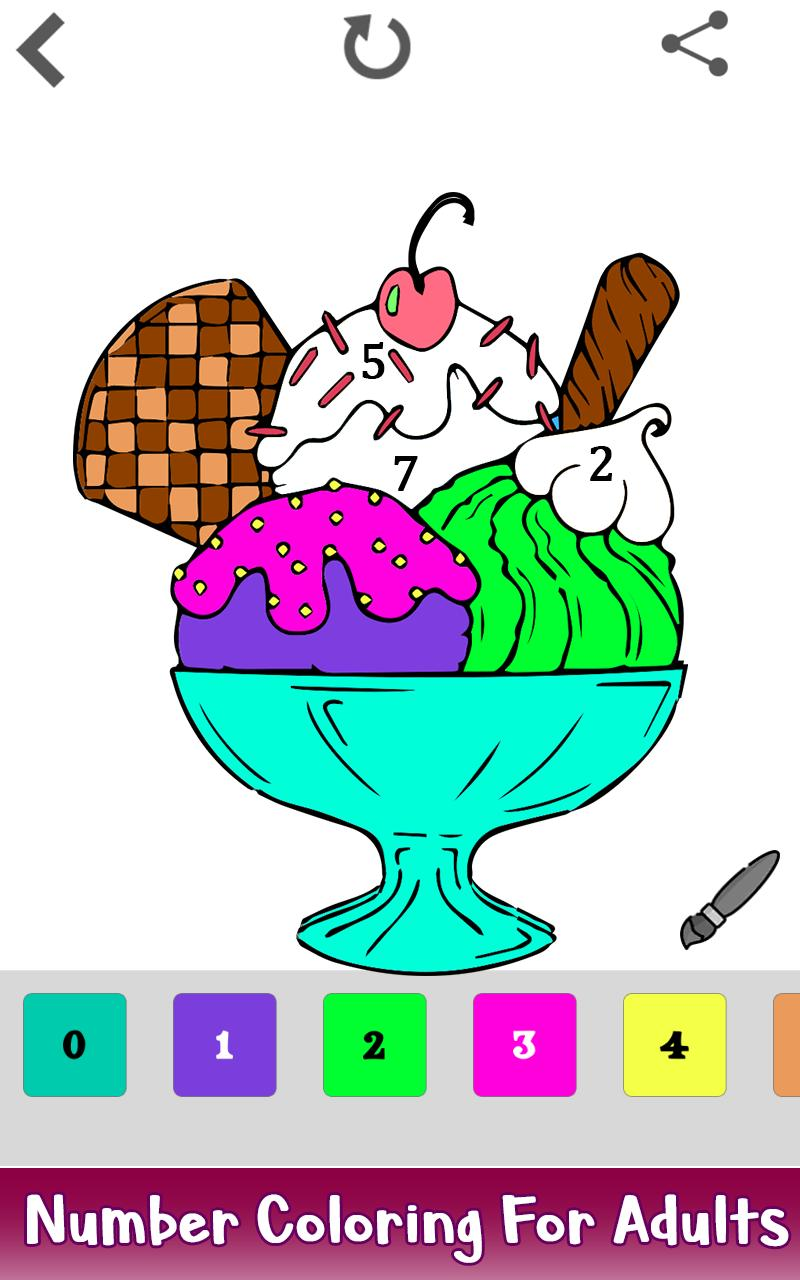 Ice Cream Color By Number Food Coloring Pages Pour Android