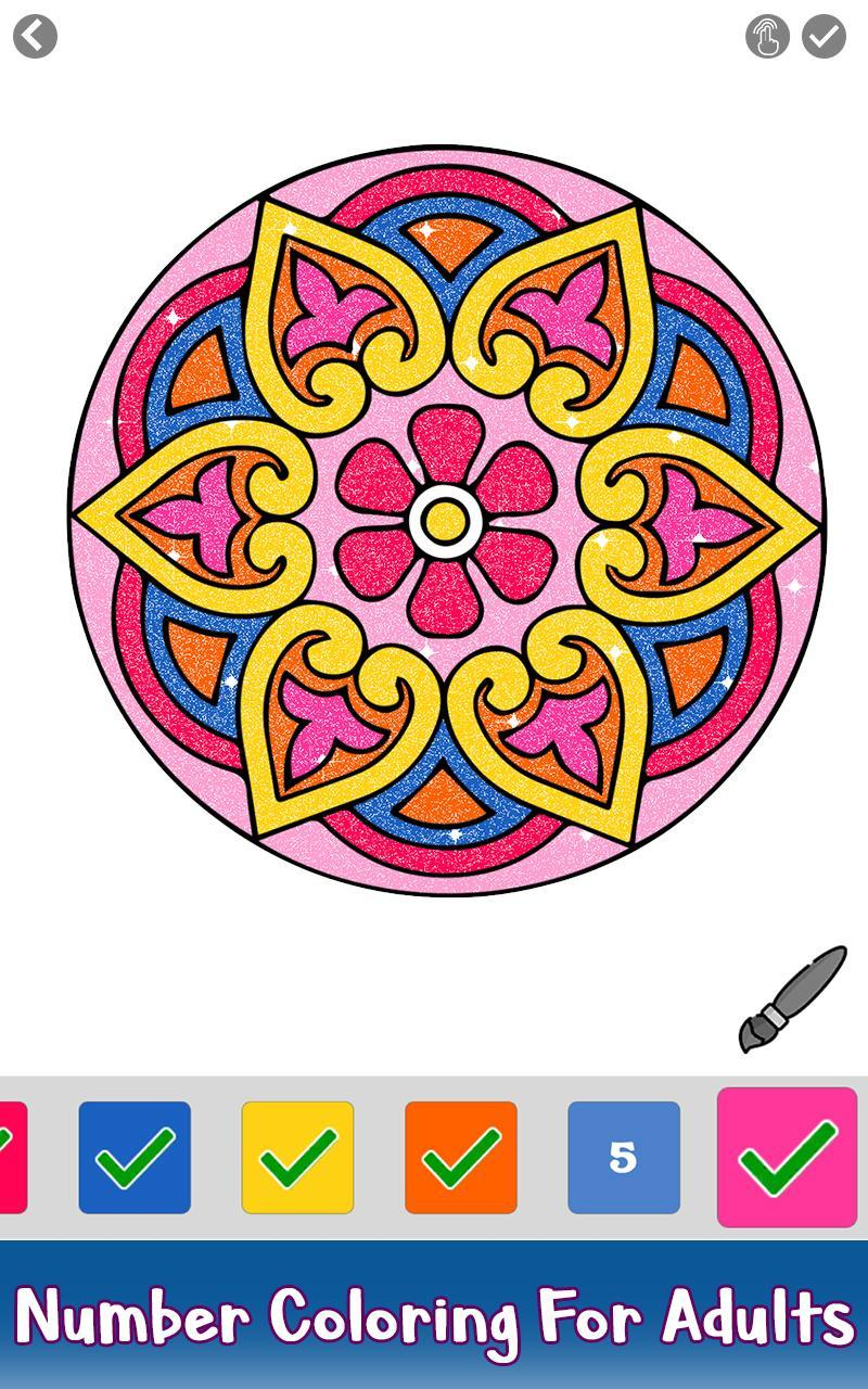 Mandala Glitter Color by Number - Paint by Numbers for ...