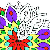 Icona Adult Color by Number Book - Paint Mandala Pages