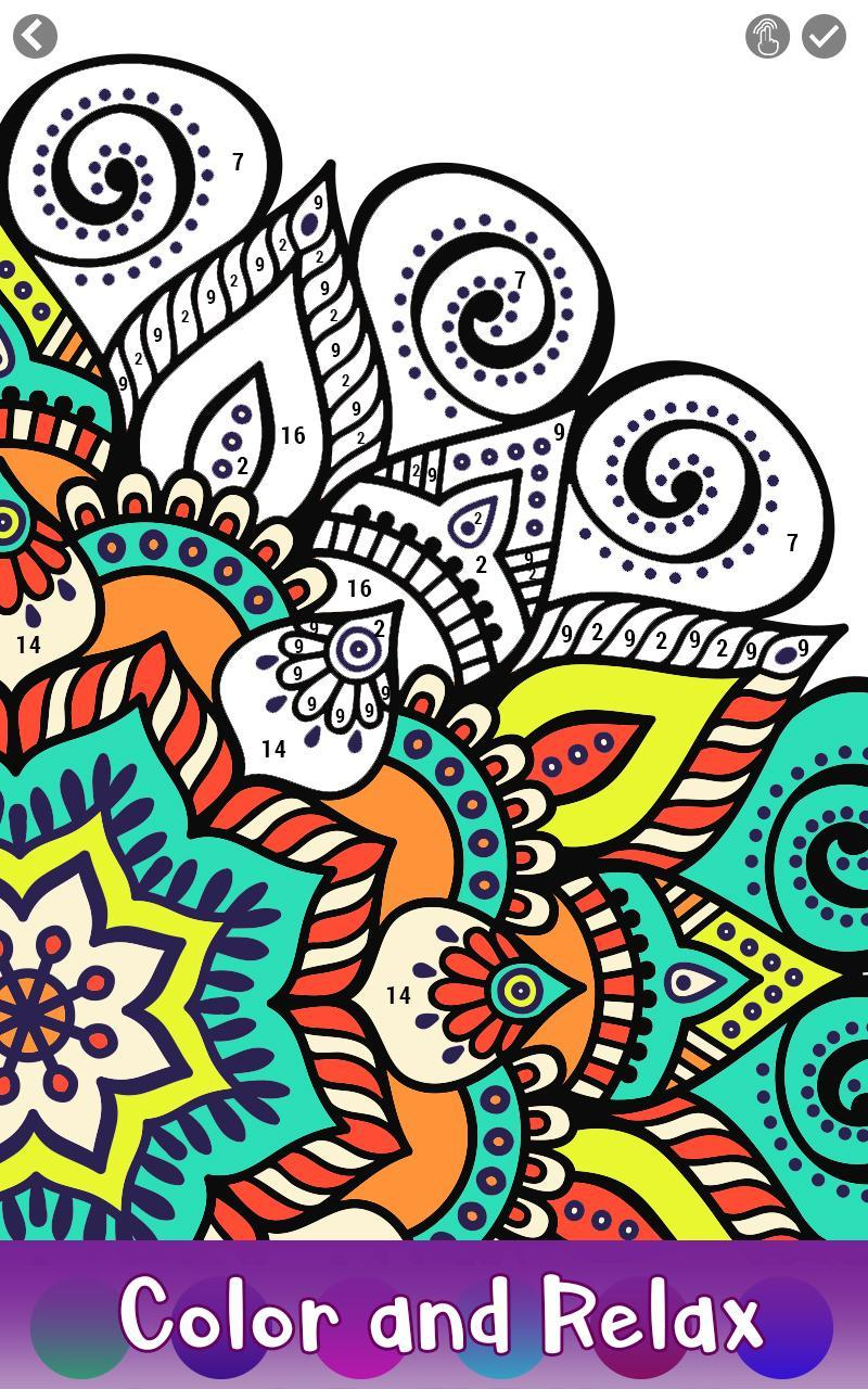 adult color by number book paint mandala pages for android apk download. Black Bedroom Furniture Sets. Home Design Ideas