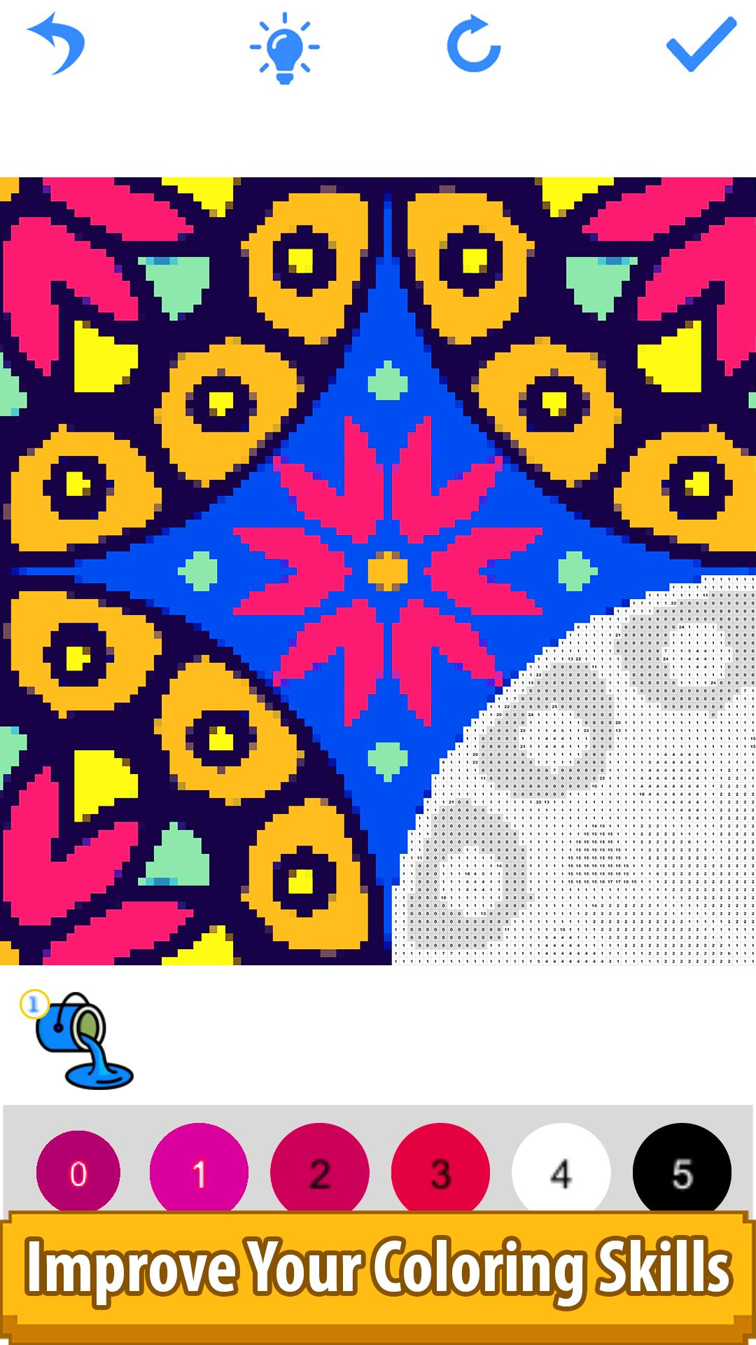 Mandala Flowers Color by Number-Pixel Art Coloring for ...