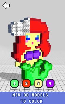 Mermaid 3D Color by Number - Voxel Coloring Book screenshot 2
