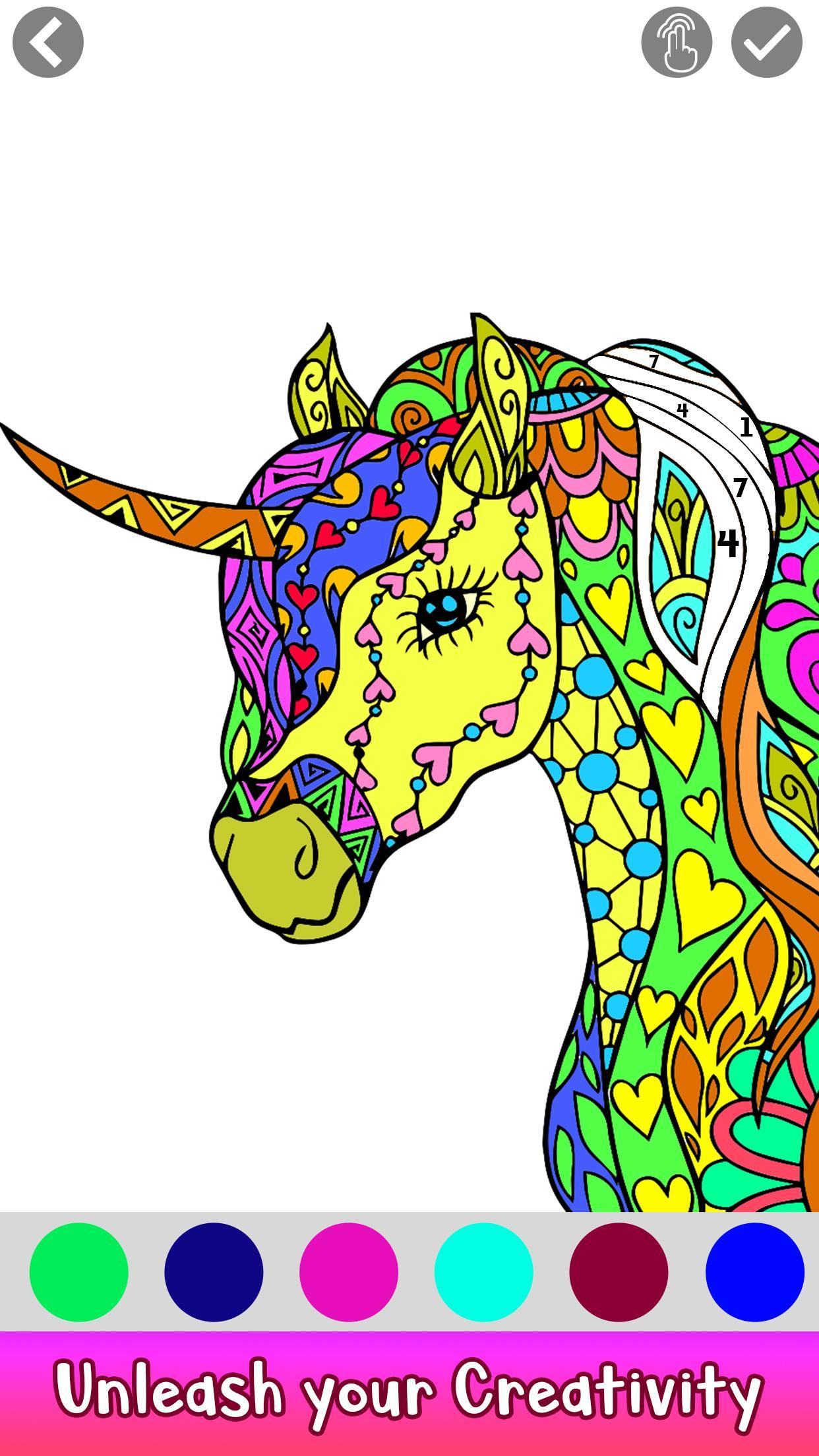 Unicorn Paint by Number: Fantasy Art Coloring Book for ...