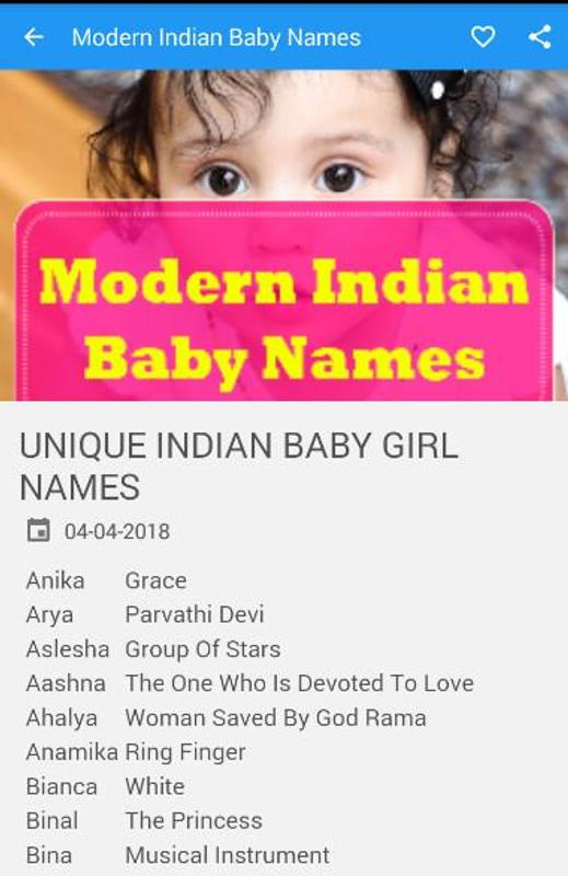 8579a7483 Modern Indian Baby Names for Android - APK Download