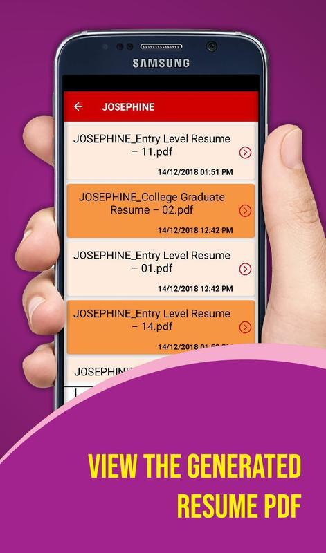 Resume Builder App Free Cv Maker With Pdf Format For Android Apk