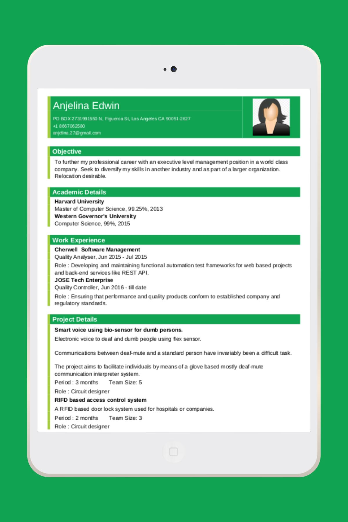 Resume Builder App Free CV Maker with PDF Format for Android