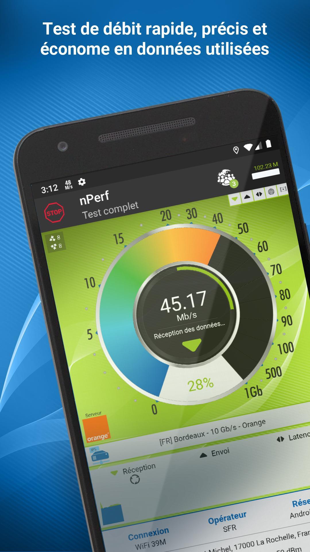 Speed test - Débit Internet wi-fi, 3G, 4G, 5G pour Android ...