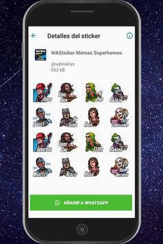 WAStickersApps Memes Superheroes captura de pantalla 1