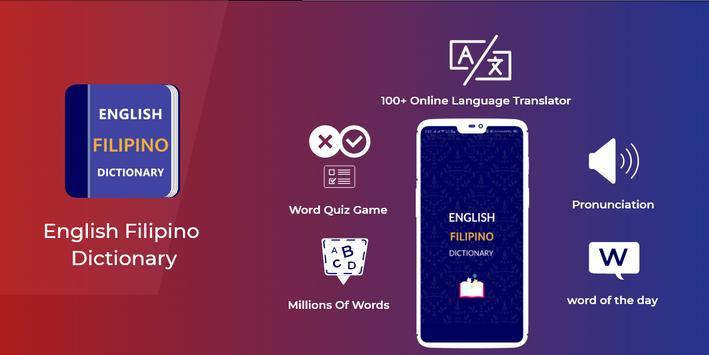 Filipino Dictionary & Translator Word Builder Quiz poster