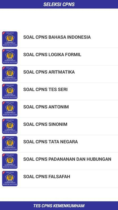 Soal Cpns 2019 Kemenkumham Kemenkeu For Android Apk Download