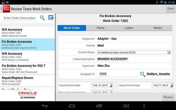 Team Work Orders - JDE E1 screenshot 3
