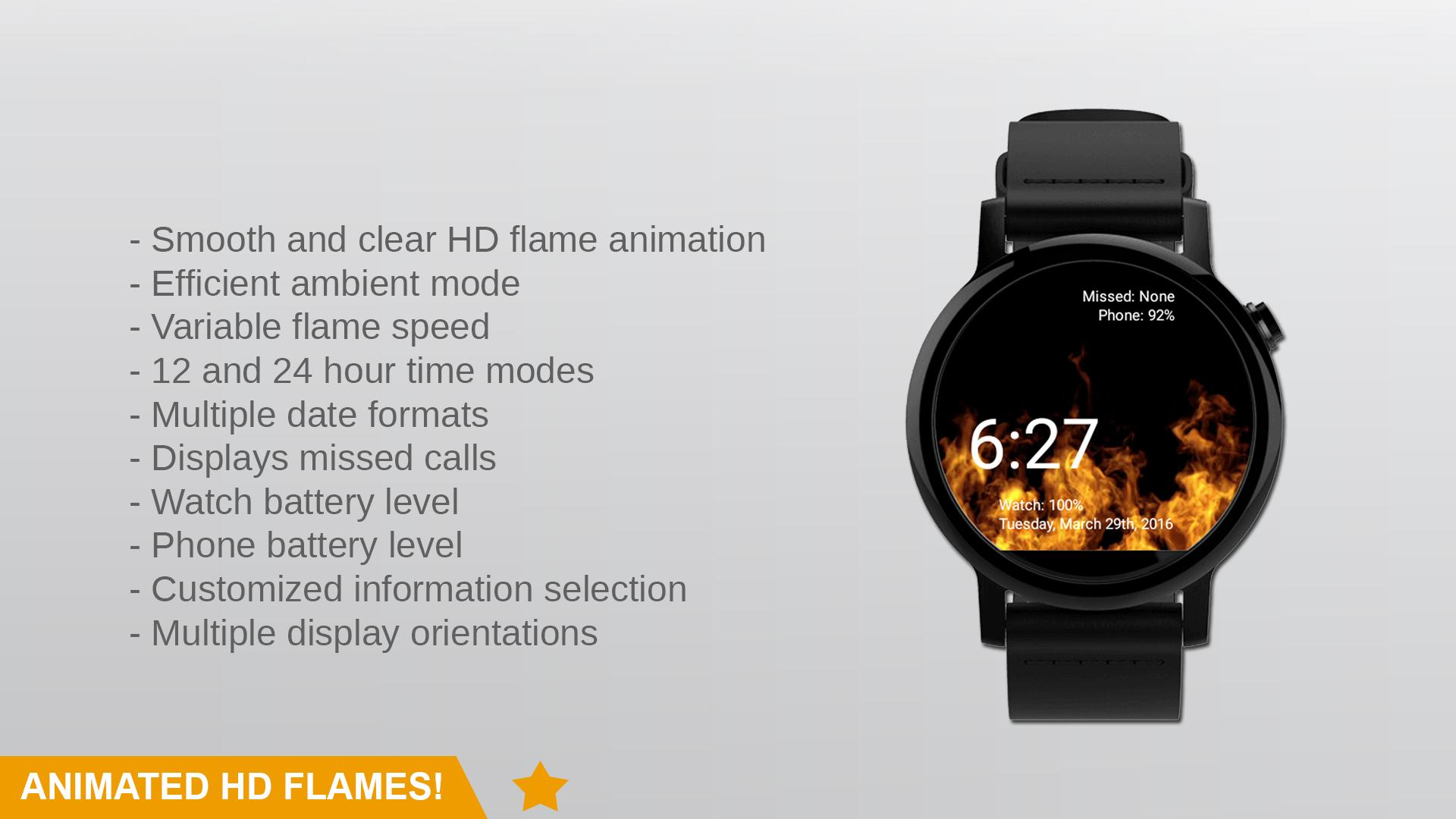 Flames Watch Face - Wear OS Smartwatch - Animated for