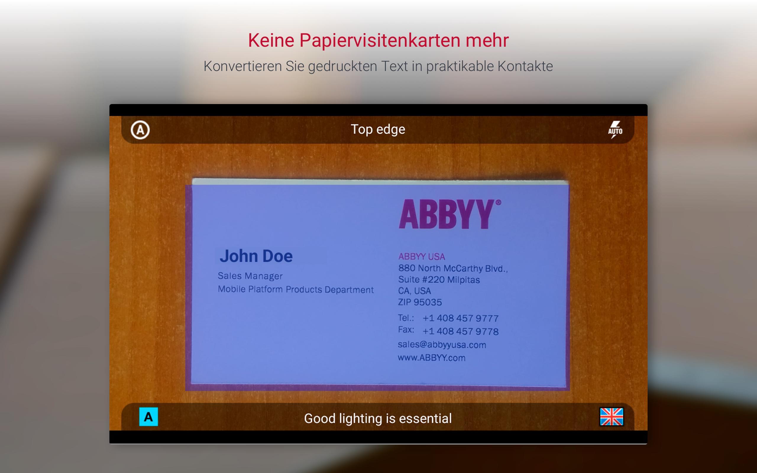 Business Card Reader Visitenkartenscanner Für Android