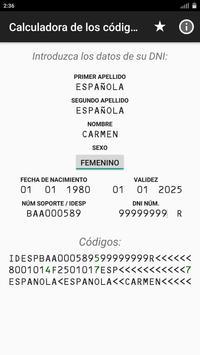 Calculadora de los códigos OCR del DNI Español poster