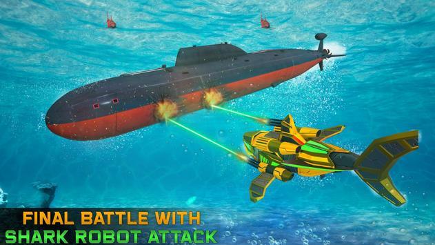 Angry Shark Robot Submarine Shooting Attack screenshot 2