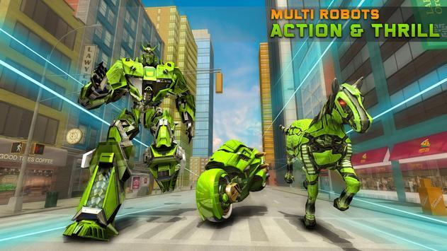 Army Horse Robot Transform: Bike Shooting Games poster