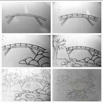Easy steps to draw bridges with a pencil screenshot 5