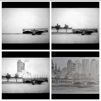 Easy steps to draw bridges with a pencil screenshot 2