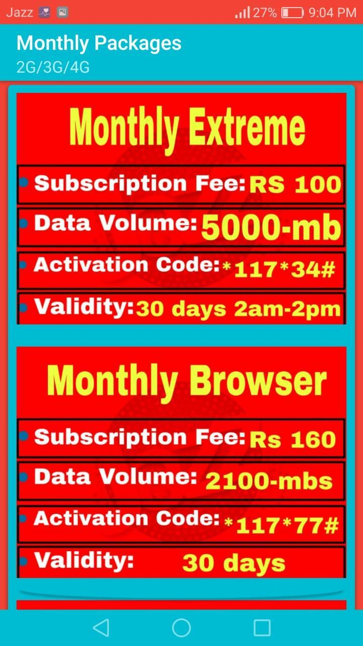 JAZZ ALL Internet Packages - 2G/3G/4G - 2019 for Android