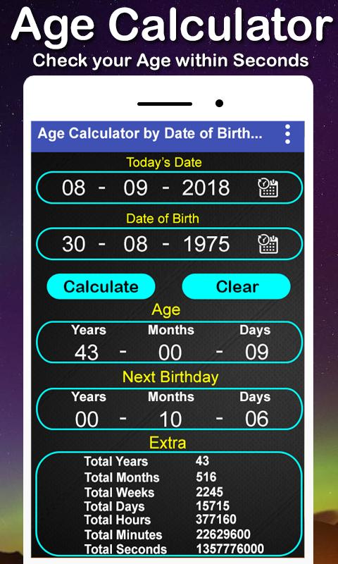 Month day hour minute second calculator