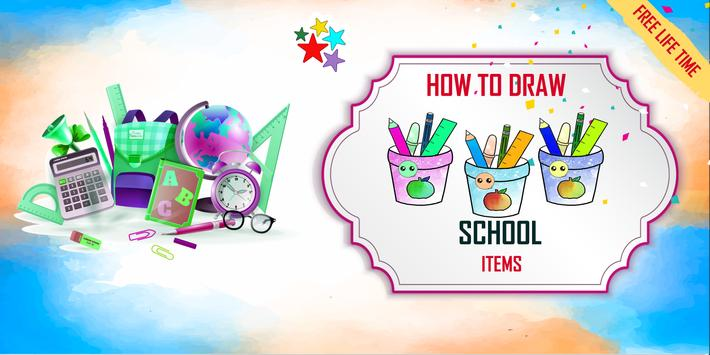 How to draw kawaii school items step by step poster