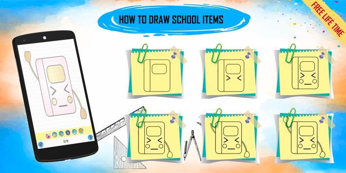 How to draw kawaii school items step by step screenshot 1
