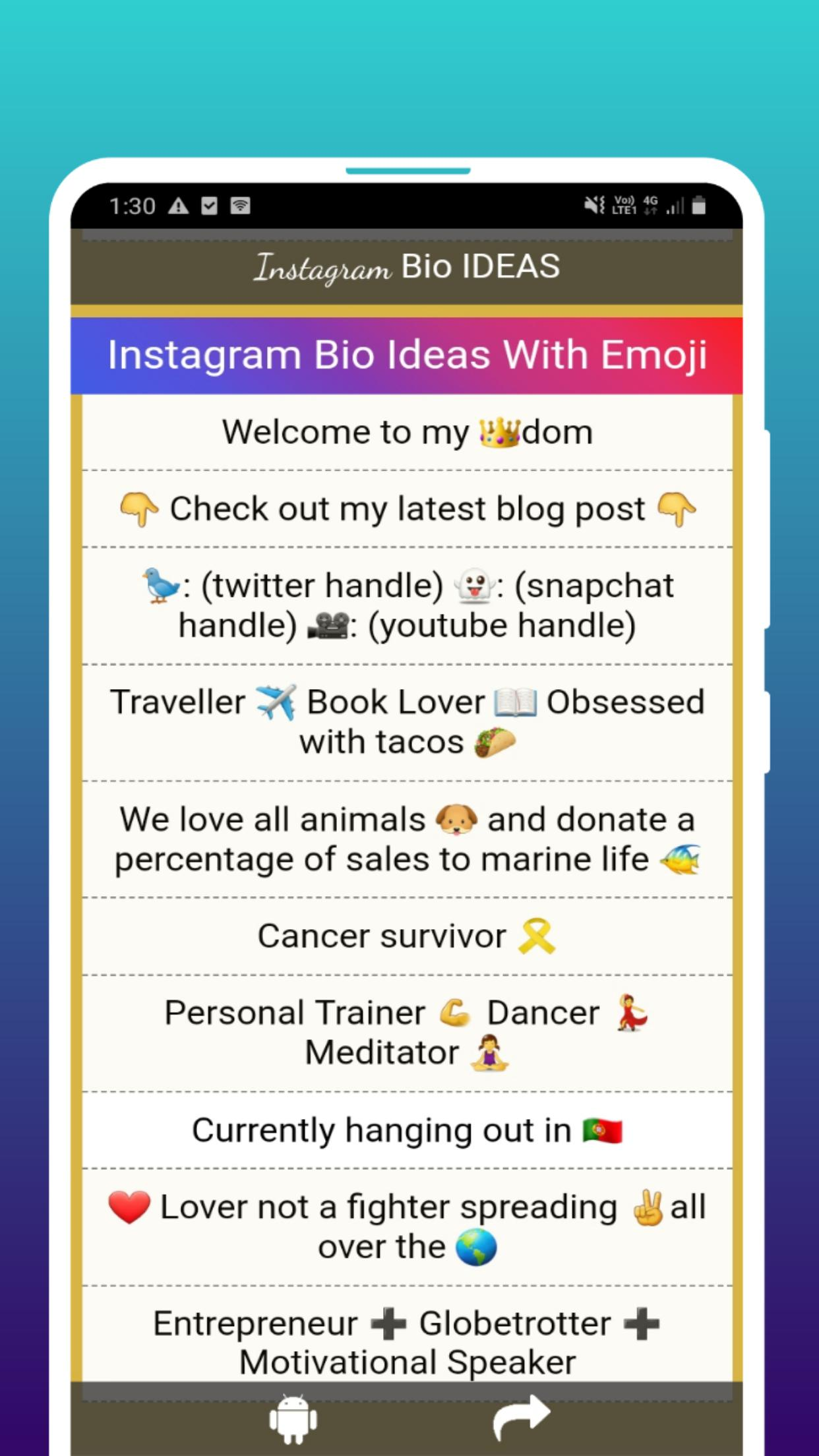 Instagram Bio Ideas 1000 Bio Cool Cute Funny For Android Apk Download