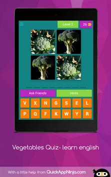 Vegetables Quiz- learn english screenshot 10