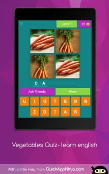Vegetables Quiz- learn english screenshot 8