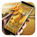 Golden dragon launcher theme &wallpaper