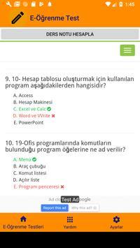 E-Öğrenme Test Çöz screenshot 10
