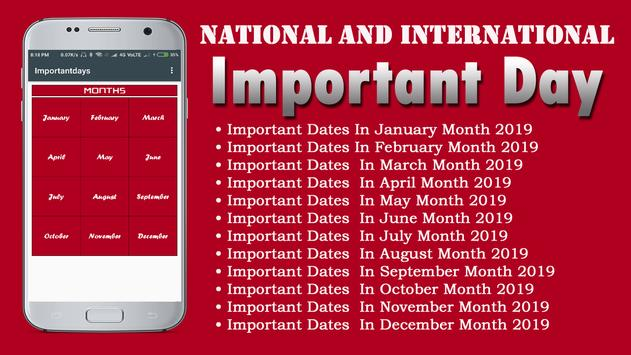 Important Days and Dates poster