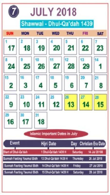 islamic calendar 2019 today