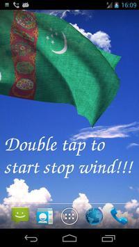 3D Turkmenistan Flag Live Wallpaper poster